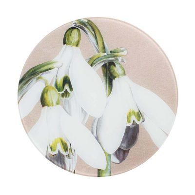 White and green snowdrops galanthus painting on linen by Sarah Caswell round glass worktop saver or coaster