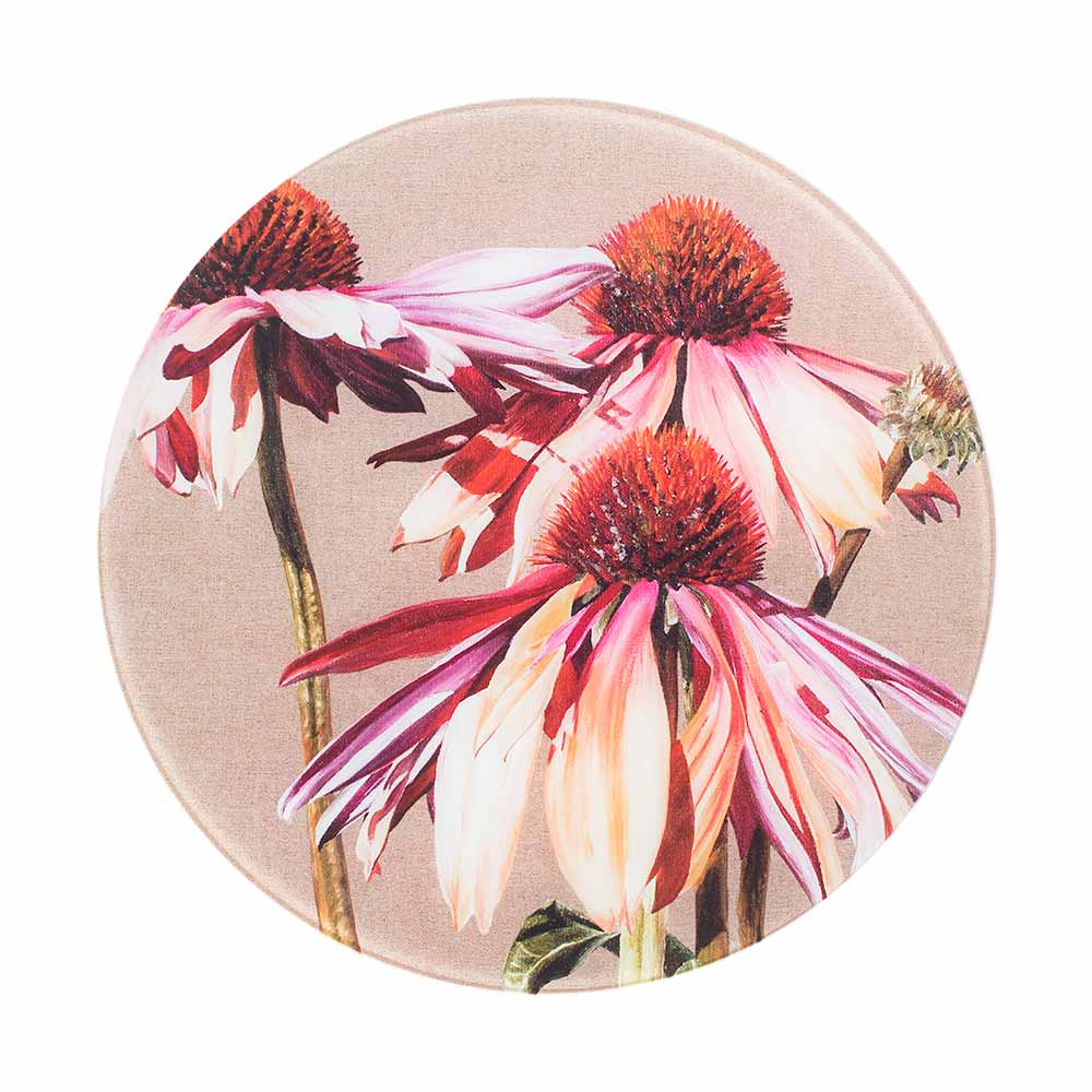 Multi-coloured echinacea Sundowner painting on linen by Sarah Caswell round glass worktop saver or coaster