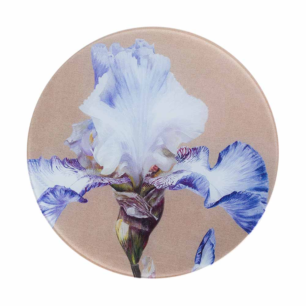 Blue and white iris painting on linen by Sarah Caswell round glass worktop saver or coaster