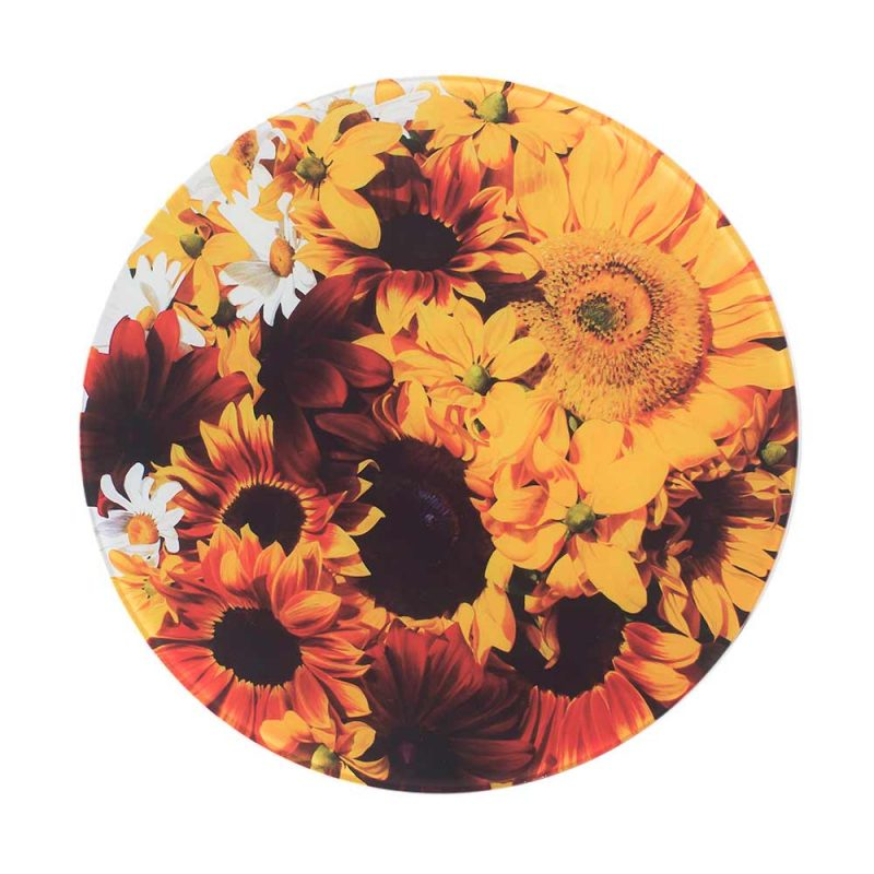 Yellow and toffee coloured sunflowers painting by Sarah Caswell round glass worktop saver or coaster