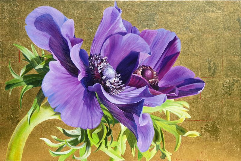Original acrylic painting on canvas, 'Reverence of Anemones'