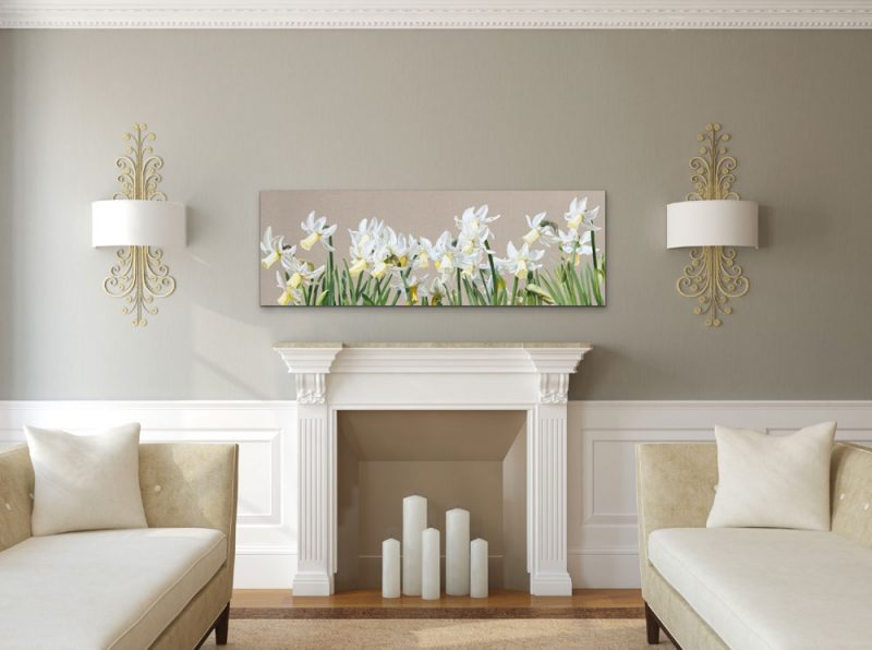 Canvas Print of Original acrylic painting 'Effortlessly Breathless' by Sarah Caswell depicted in a living room setting.