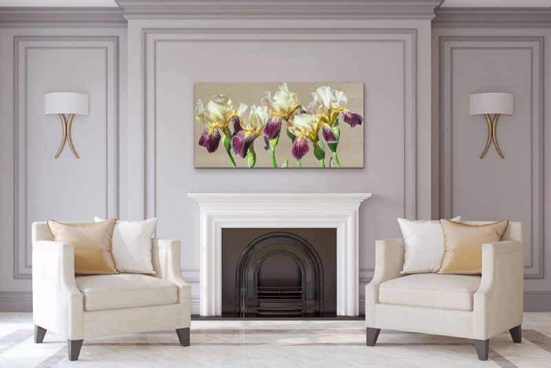Canvas Print of Original acrylic painting by Sarah Caswell, 'Five' In an elegant siting room setting.
