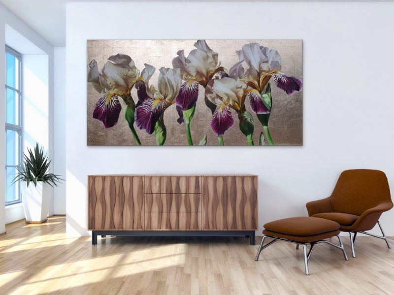 Original acrylic painting by Sarah Caswell, 'Five' Bearded iris 'Lorelei' in bright sunshine. Depicted in a home setting.