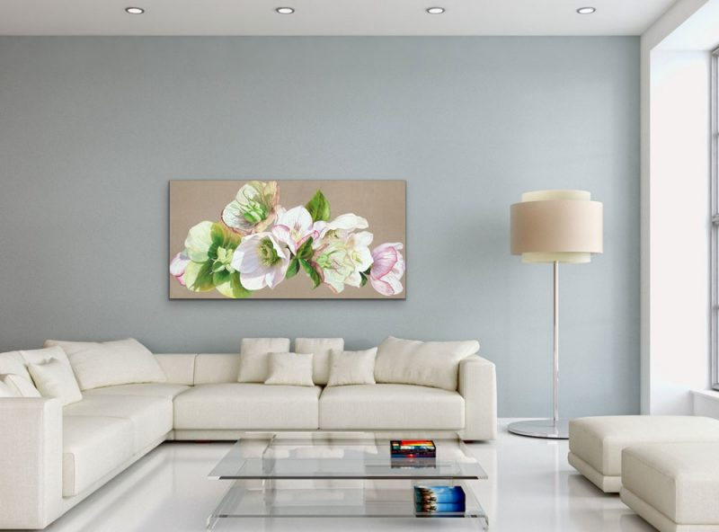 Canvas print of original acrylic painting 'Hellebore Fresh' by Sarah Caswell. Depicted in a living room setting