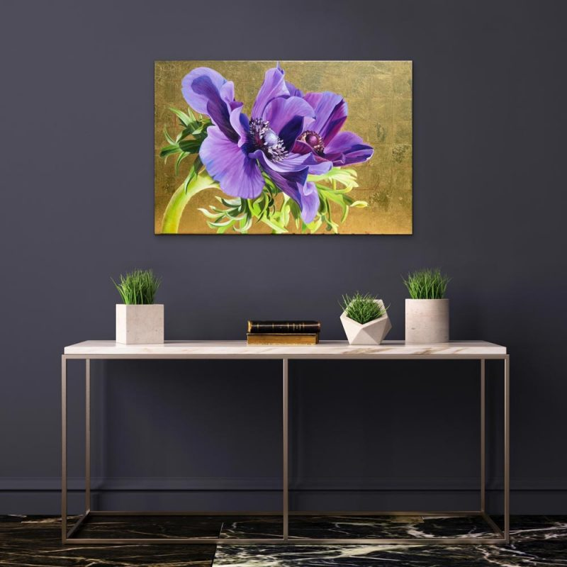 Original acrylic painting on canvas, 'Reverence of Anemones' Rich purple anemones in bright sunshine on 23.5ct yellow gold leaf background by Sarah Caswell. Depicted in a home setting.