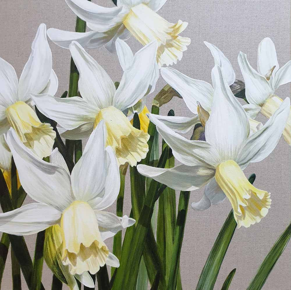 Original acrylic painting of White and pale lemon daffodils 'Jenny' in a light breeze and bright sunshine on linen canvas.