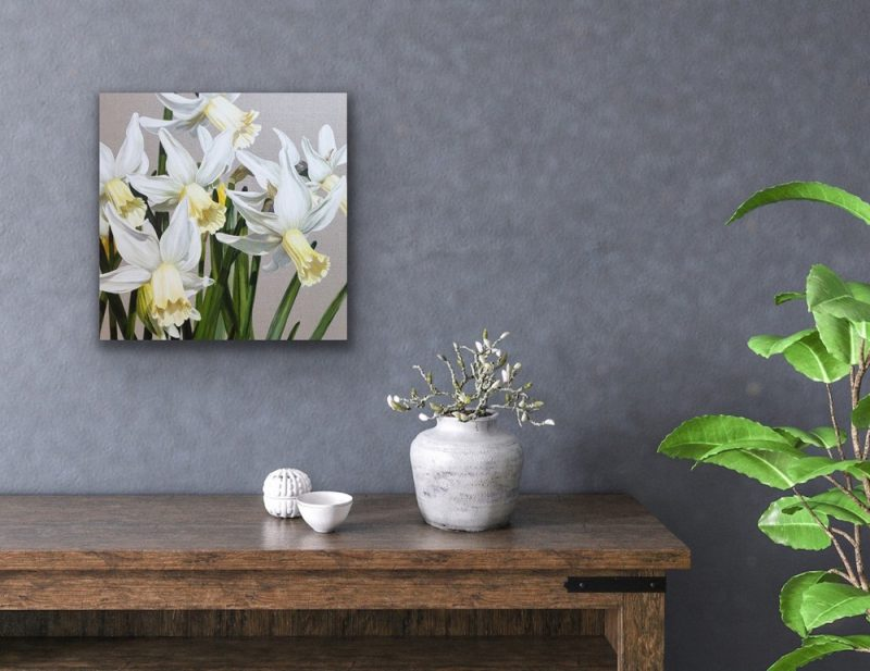 Original acrylic painting of White and pale lemon daffodils 'Jenny' in a light breeze and bright sunshine on linen canvas, depicted in a home setting.