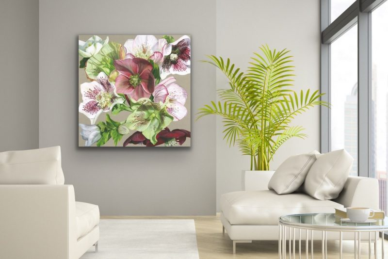 Original acrylic painting on linen canvas, A collection of hellebores from white, pink veined, through green to darkest claret. In bright sunshine, depicted in a living room setting.