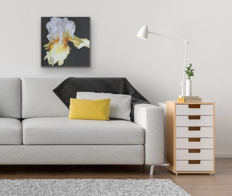 Original acrylic painting on cotton canvas, Lemon yellow and white bearded iris in bright sunshine on cast iron painted ground, depicted in a living room setting.