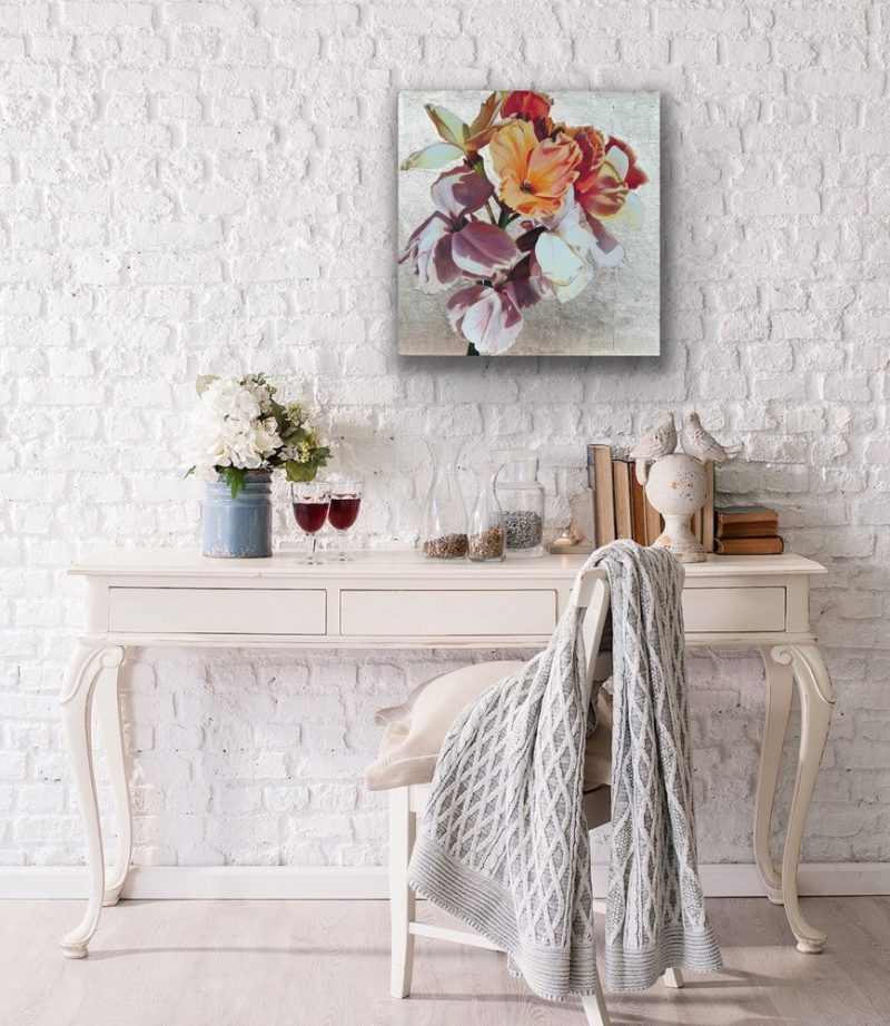 Original acrylic painting on cotton canvas, Multi-coloured wallflowers in bright sunshine on 22ct 'moon' gold leaf background, depicted in a living room setting.