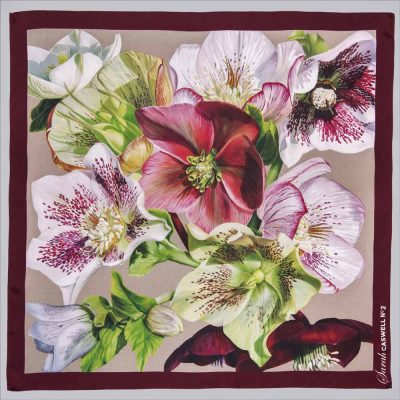 Silk scarf depicting the painting 'Hellebore Rhapsody' 2019