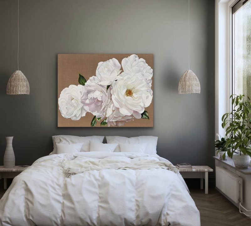 Canvas Print of the painting Warm Iceberg Sunshine on cotton canvas, displayed in a bedroom setting
