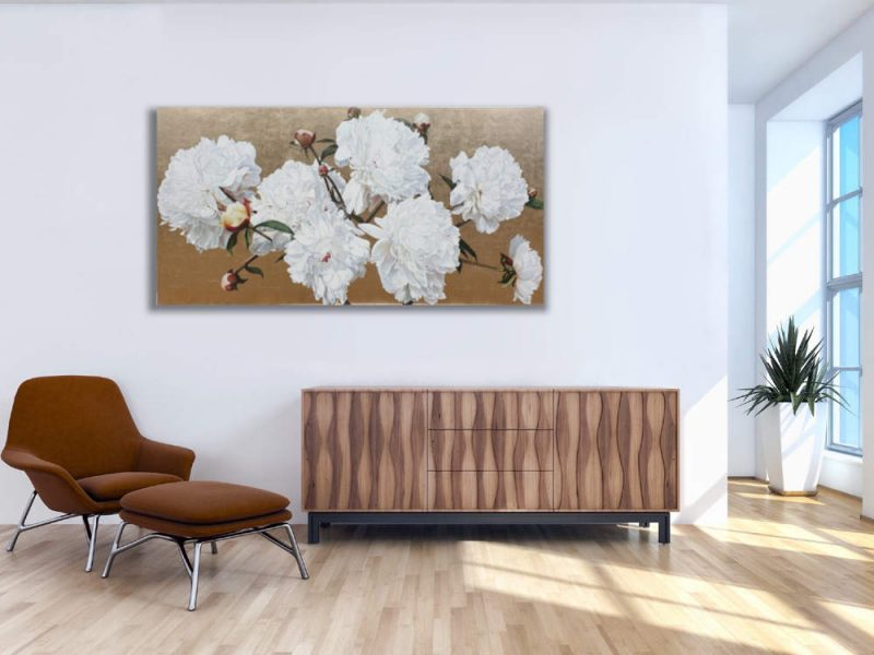 Original acrylic painting on gold leaf by Sarah Caswell of white peonies in bright sunshine. Shown in a home setting.