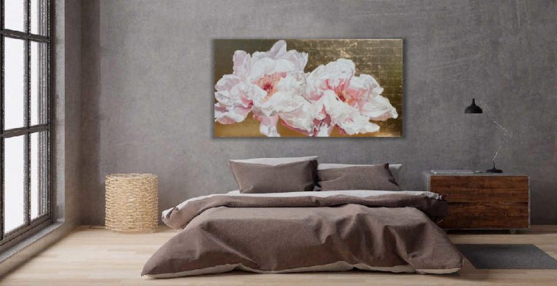 Original acrylic painting on gold leaf background by Sarah Caswell of Tree peonies in bright sunshine. Shown in a bedroom setting.