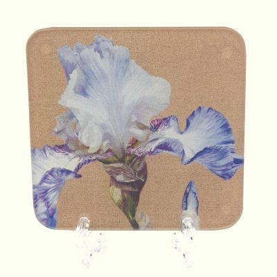 Coaster of the original acrylic painting, China White Dancer by UK floral artist Sarah Caswell.