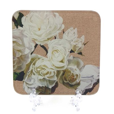 Coaster of the original acrylic painting, Warm Iceberg Sunshine by UK floral artist Sarah Caswell. White Roses on a canvas background.
