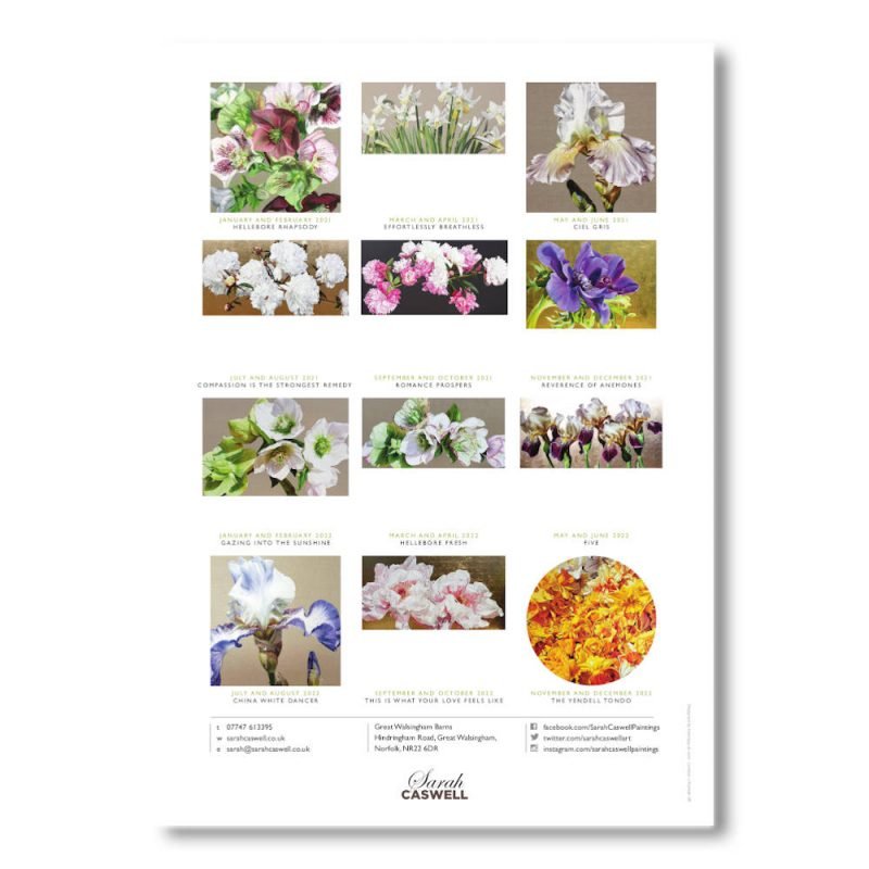 Example back page image of Sarah Caswell floral art calendar 2021-2022
