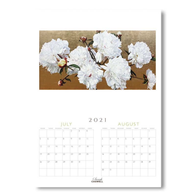 Example inner page image of Sarah Caswell floral art calendar 2021-2022
