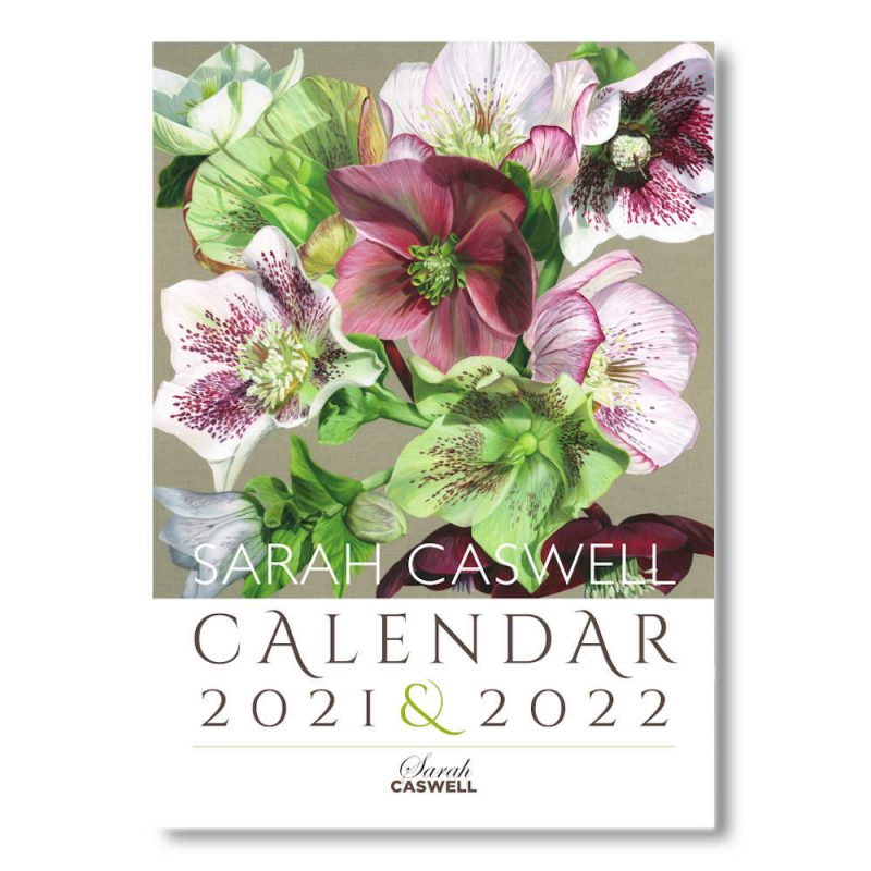 Front image of Sarah Caswell floral art calendar 2021-2022
