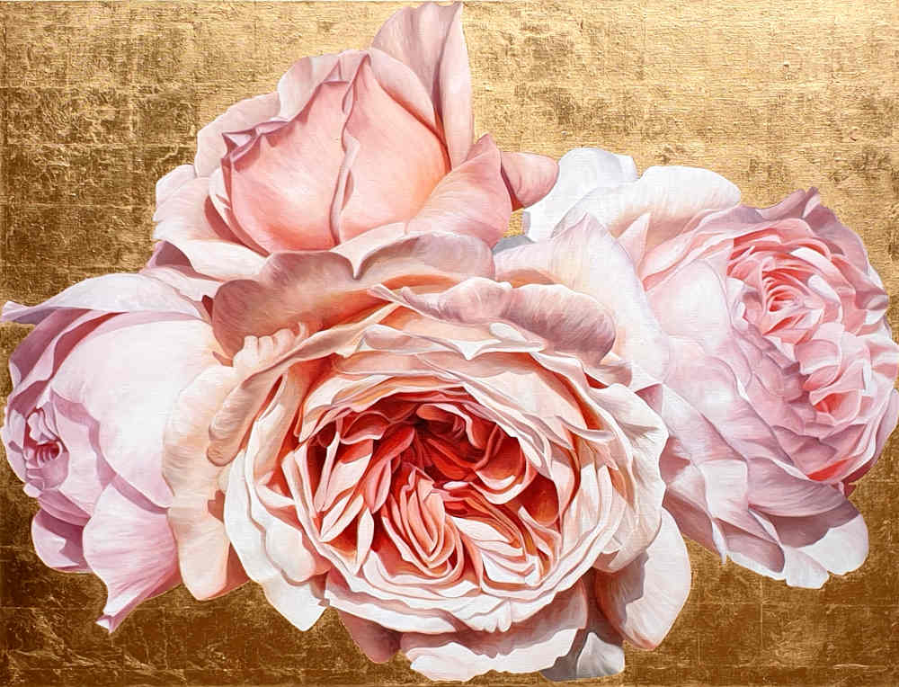 Original acrylic painting by Sarah Caswell of Coral pink David Austin 'Jubilee Celebration' roses in bright sunshine on red gold.