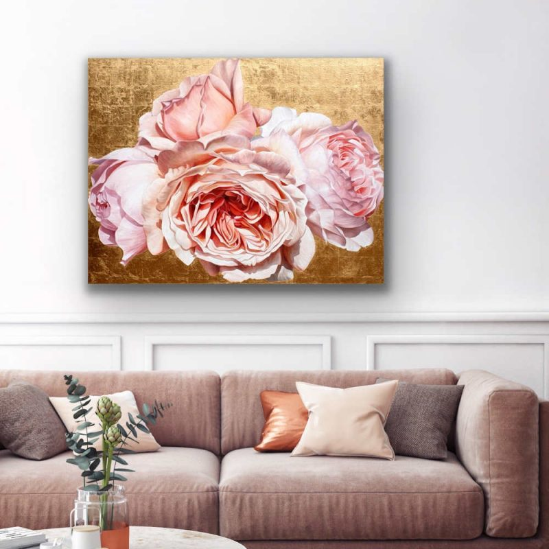 Original acrylic painting by Sarah Caswell of Coral pink David Austin 'Jubilee Celebration' roses in bright sunshine on red gold. Shown in a home setting.