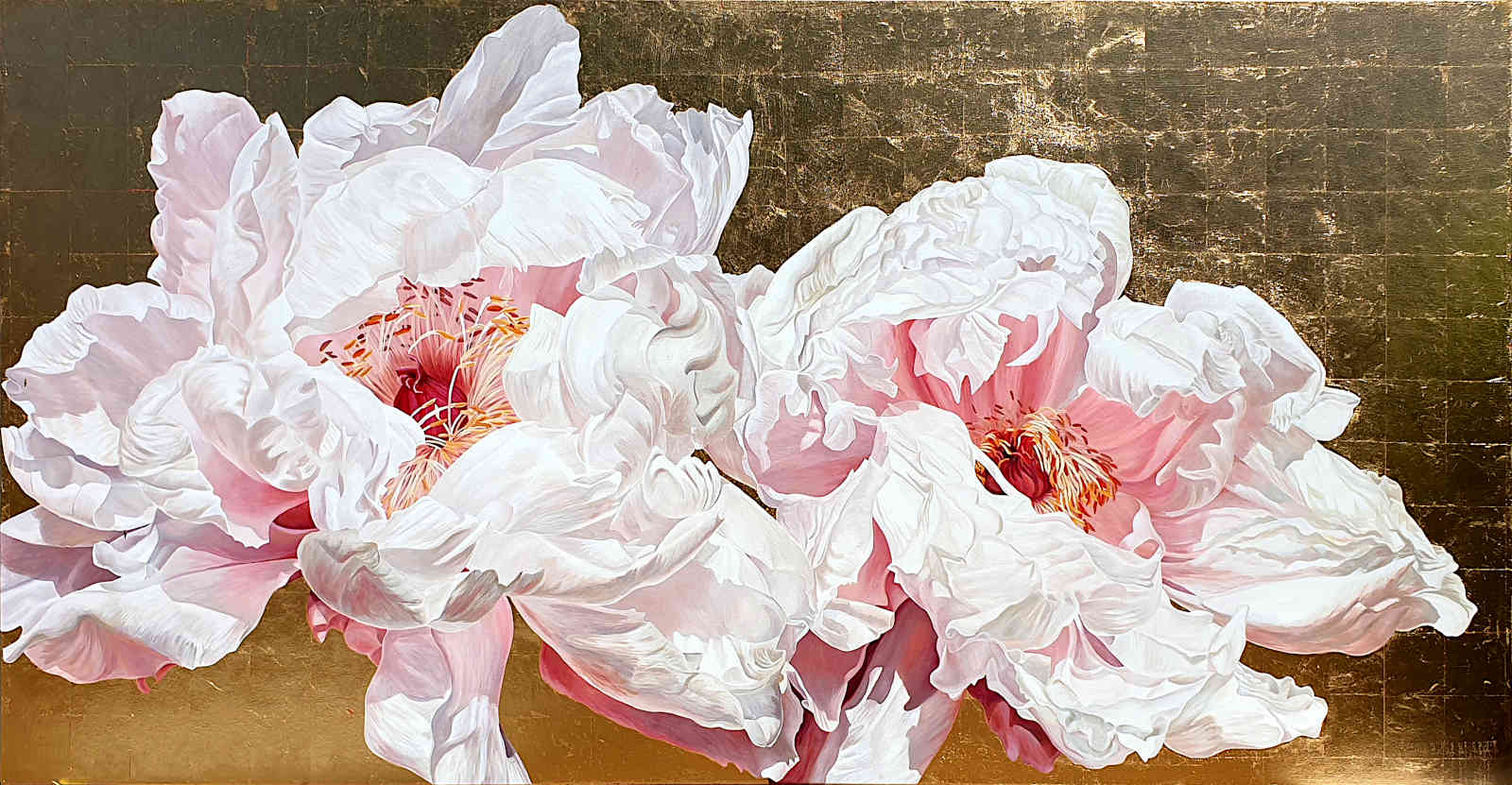 An original painting of palest pink tree peonies on red gold leaf by UK artist Sarah Caswell