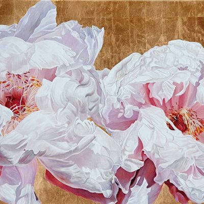 Original acrylic painting by floral artist Sarah Caswell. Tree peonies in bright sunshine on gold leaf