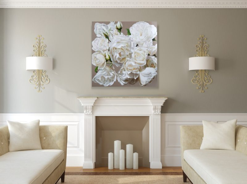 Print of original acrylic painting by Sarah Caswell of white roses in bright sunshine on a linen background. Shown in a home living room setting.