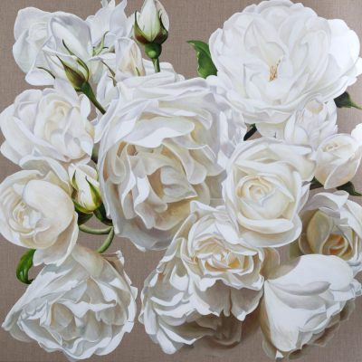 Print of original acrylic painting by Sarah Caswell of white roses in bright sunshine on a linen background.