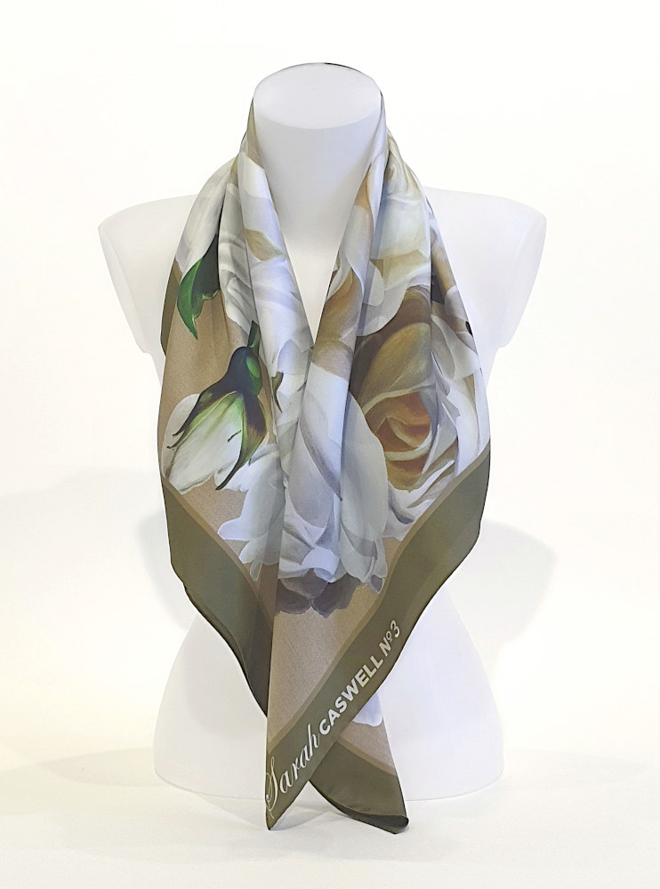 100% Italian Silk scarf depicting the painting Iceberg Rhapsody by Sarah Caswell.