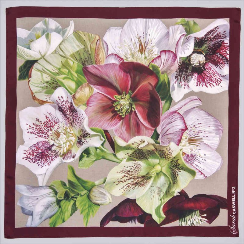 Silk scarf depicting the painting 'Hellebore Rhapsody' 2019 by Sarah Caswell 100% Italian printed silk.