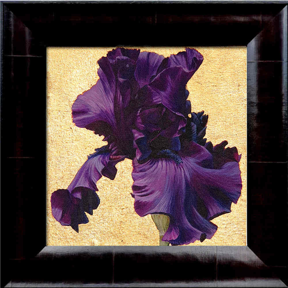 Deep purple bearded iris in bright sunshine on 22.5ct moon gold leaf background. Original acrylic painting by UK Floral Artist Sarah Caswell on canvas.