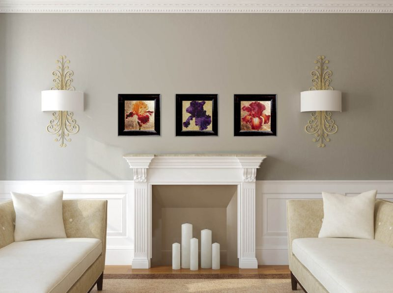 Wisdom, Hope & Valour XX, XVI and XIX Original acrylic paintings by UK Floral Artist Sarah Caswell on canvas. Displayed in a white and grey home room setting.